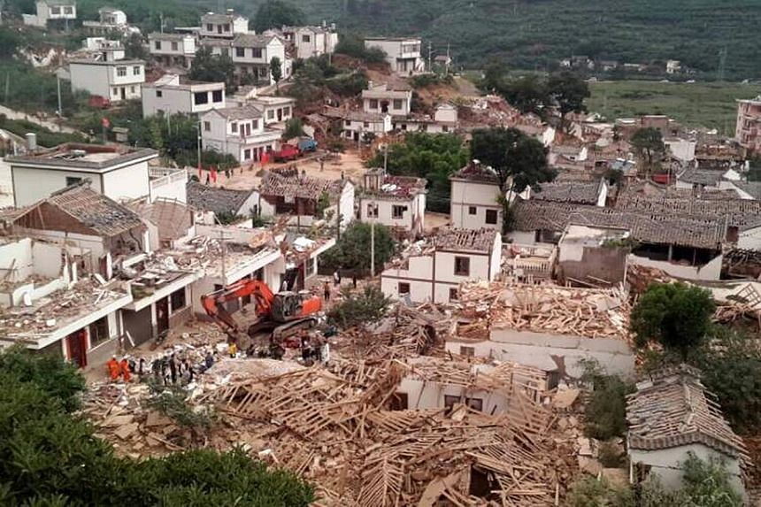 A general view shows collapsed houses after an earthquake hit Ludian county, Yunnan province on Aug 3, 2014. -- PHOTO: REUTERS
