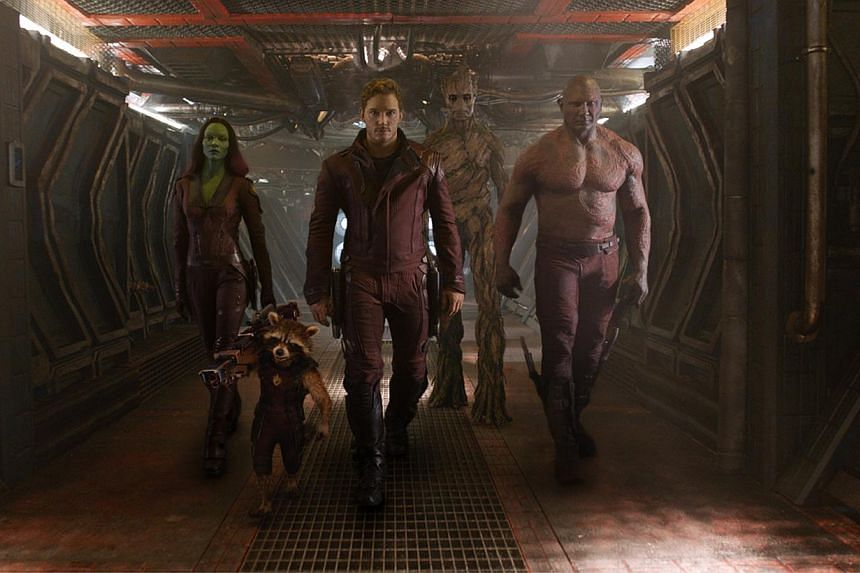 A cinema still of Guardians Of The Galaxy showing (from left) Gamora, Rocket, Star-Lord, Groot and Drax the Destroyer. -- PHOTO: WALT DISNEY STUDIOS