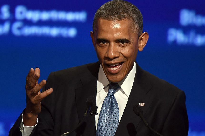 US President Barack Obama speaks during the US-Africa Business Forum on the sidelines of the US-Africa Leaders Summit in Washington, DC, on August 5, 2014. Heannounced on Tuesday US$33 billion (S$41 billion) in new investment and financing comm