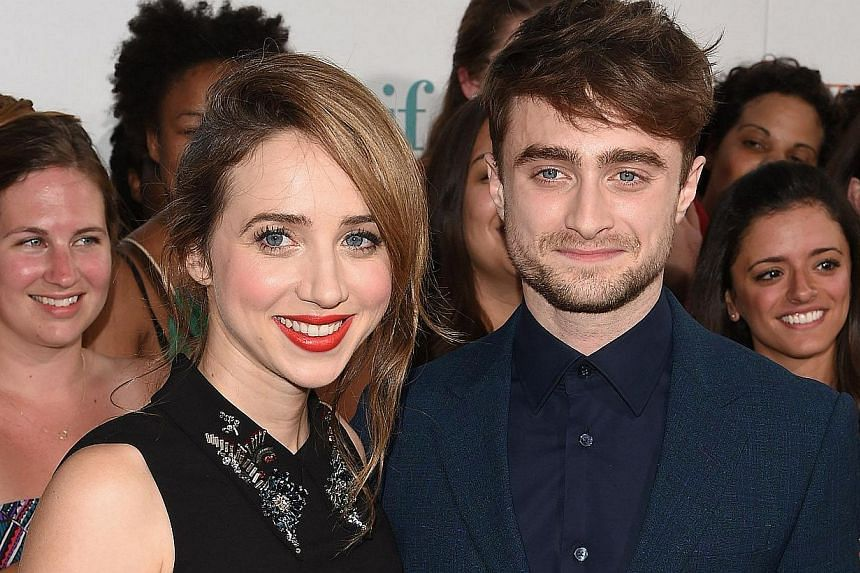 Actor Daniel Radcliffe and his What If co-star Zoe Kazan at afan screening of the movie in New York on August 4, 2014. -- PHOTO: AFP