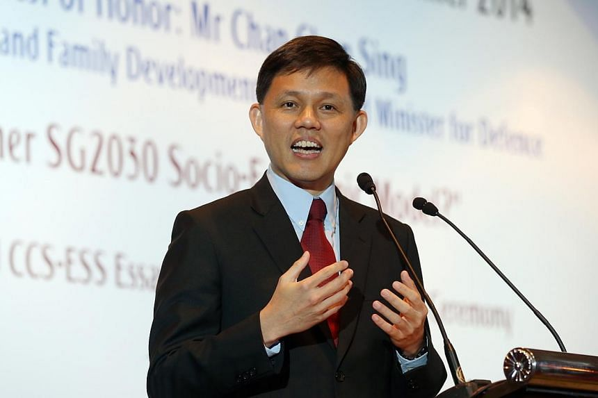 Mr Chan Chun Sing, Minister for Social and Family Development and Second Minister for Defence, speaks at the Economic Society of Singapore Annual Dinner 2014 on Thursday, Aug 7.As Singapore looks ahead to 2030 and beyond, key principles behind