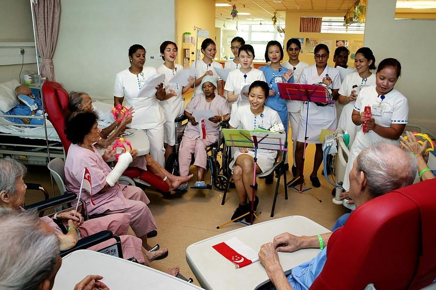 Nurses at Changi General Hospital came up with a plan in 2013 to introduce music therapy to their geriatric patients, some of whom suffer from dementia, to cheer them up. The nurses, seen here with senior staff nurse Michele Lim playing the ukulele,