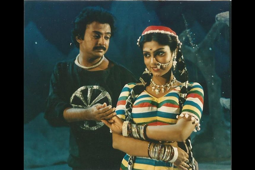 Singaporean Sasha Selvarajoo, who is better known as actress Ranjini in show business, with actor Mohan in Paru Paru Pattanam Paru (1986, above) and with actor Karthik Muthuraman in Kalyana Raasi (1990). -- PHOTO: COURTESY OF SASHA SELVARAJOO