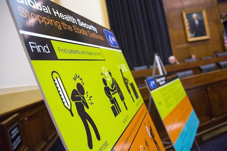 US Centers for Disease Control and Prevention (CDC) educational materials are displayed at a hearing of a House Foreign Affairs subcommittee, about the Ebola crisis in West Africa, on Capitol Hill in Washington on Aug 7, 2014. -- PHOTO: REUTERS