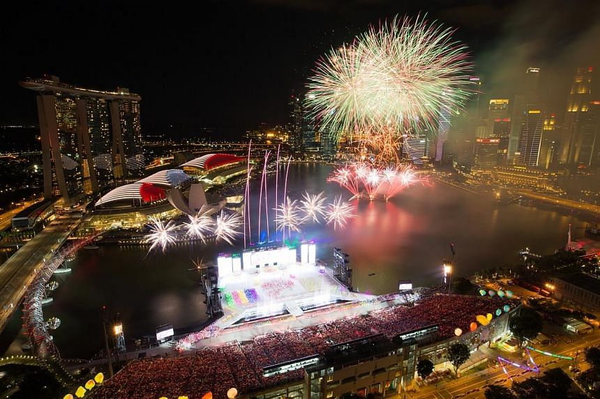 The National Day Parade ended with a fireworks display. -- ST PHOTO: ONG WEE JIN
