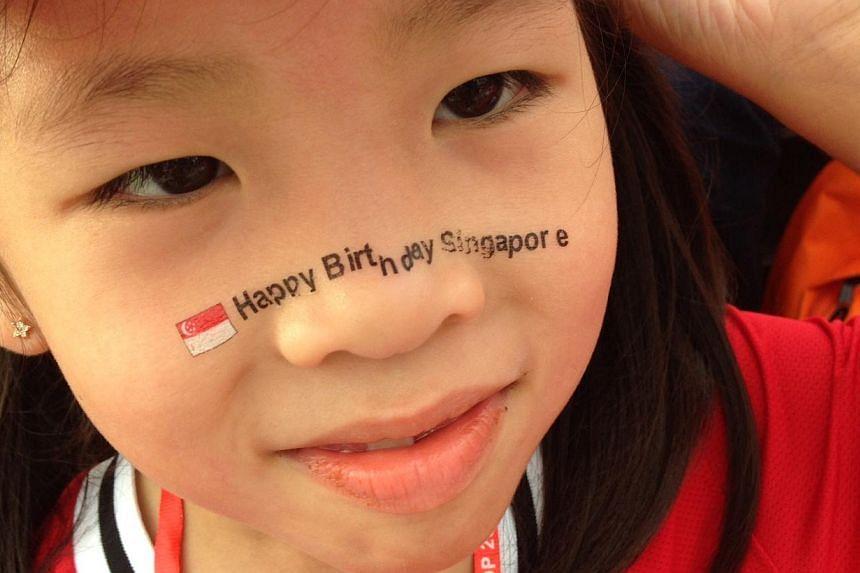 Wishing Singapore happy birthday. -- ST PHOTO: NEO XIAOBIN