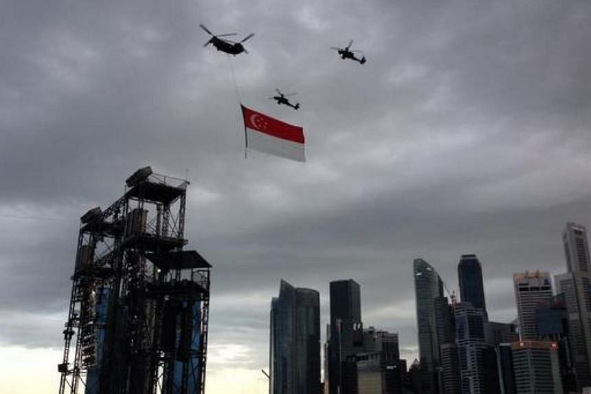 Majulah Singapura, even in cloudy weather. -- ST PHOTO: YEO SAM JO