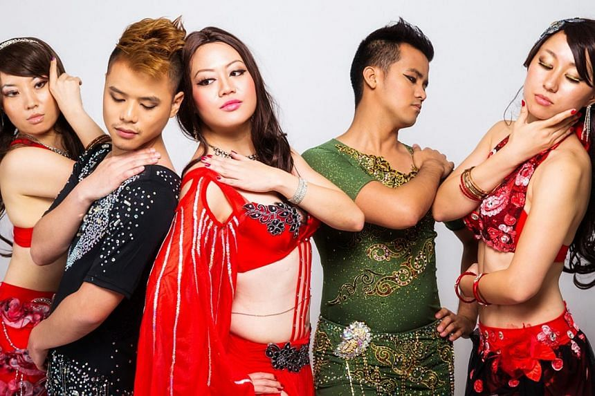 Singapore belly dance instructor Darren Ho (second from left) with his group Le'Mirage, comprising (from left) Japan's Meri Yamamoto, Singapore's Anka, the Philippines' Arjae Vitug and Japan's Yoshika Fukuda. They have won awards in local a