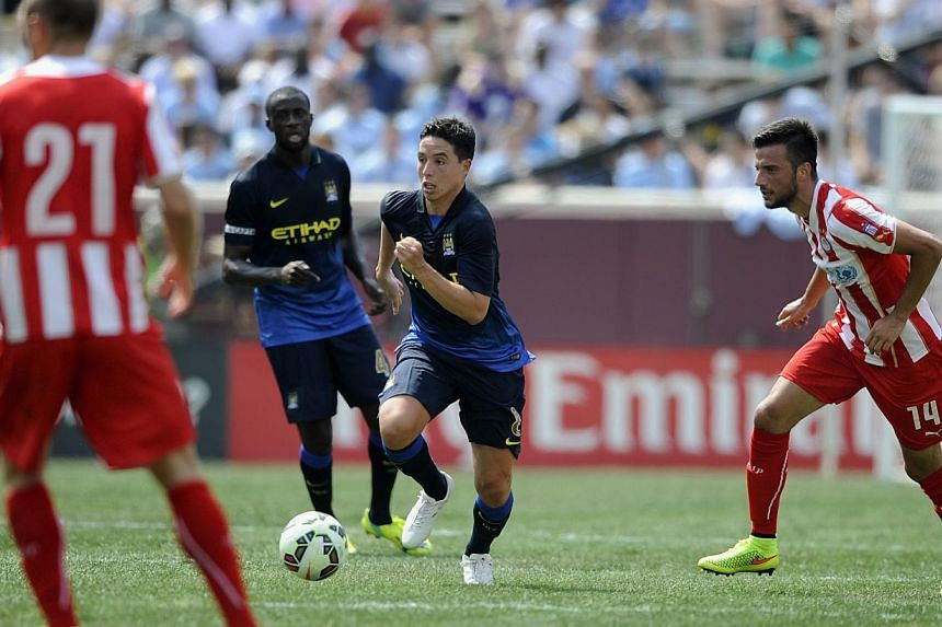 Samir Nasri #8 of Manchester City controls the ball during the first half of the International Champions Cup match against the Olympiacos on Aug 2, 2014, at TCF Bank Stadium in Minneapolis, Minnesota.Manchester City midfielder Samir Nasri has c