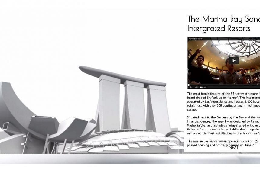 Take a 3D tour of the waterfront and let these young reporters from The Straits Times' online team show you how Marina Bay has transformed into a stunning showpiece of Singapore's skyline. -- PHOTO:SCREENGRAB FROM STRAITSTIMES.COM