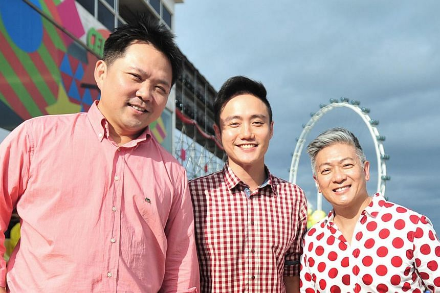 Dick Lee (right) with music director Sydney Tan (left) and film-maker Boo Junfeng, the creative team behind this year's NDP. They will work on next year's parade as well.