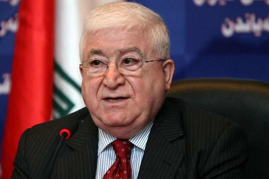 The United States threw its weight behind Iraqi President Fuad Masum (above) after Prime Minister Nuri al-Maliki announced on state television that he would be filing a complaint against Masum and as security forces massed in the capital. -- PHOTO: R