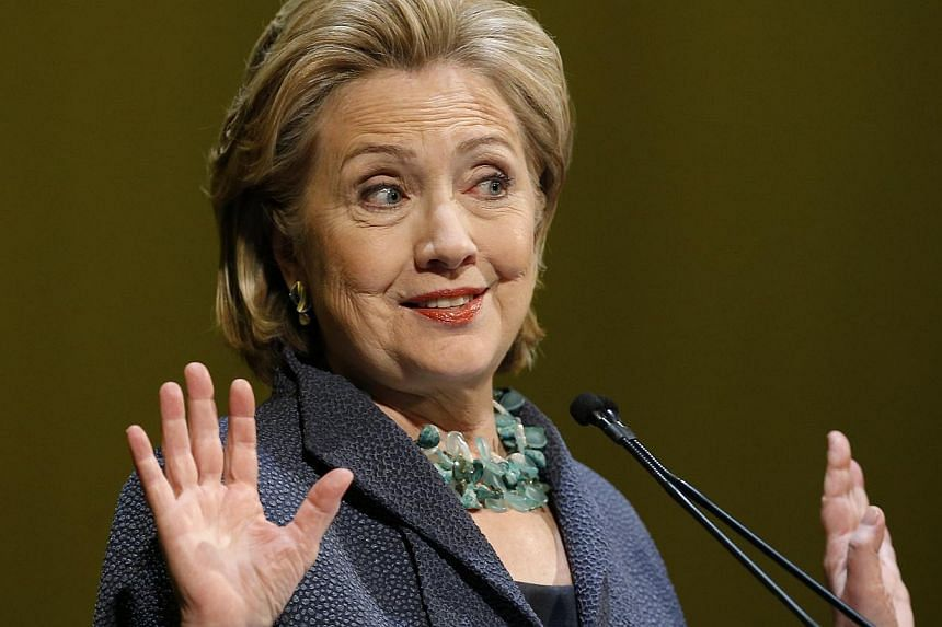 Former US Secretary of State Hillary Clinton speaking during an event in Chicago, Illinois on June 11, 2014. In an interview with The Atlantic published on Sunday, Mrs Clinton said the US decision not to intervene early in the Syrian civil war was a