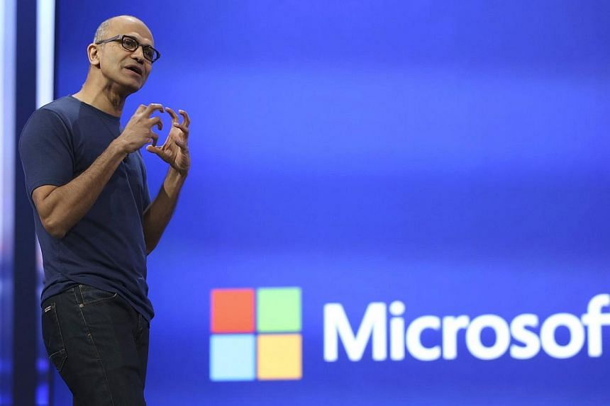 """Microsoft chief executive Satya Nadella speaking at the company's """"build"""" conference in San Francisco in a file photo taken April 2, 2014. Despite the popularity of the company's Windows operating system and Office suite, few people in emerging marke"""