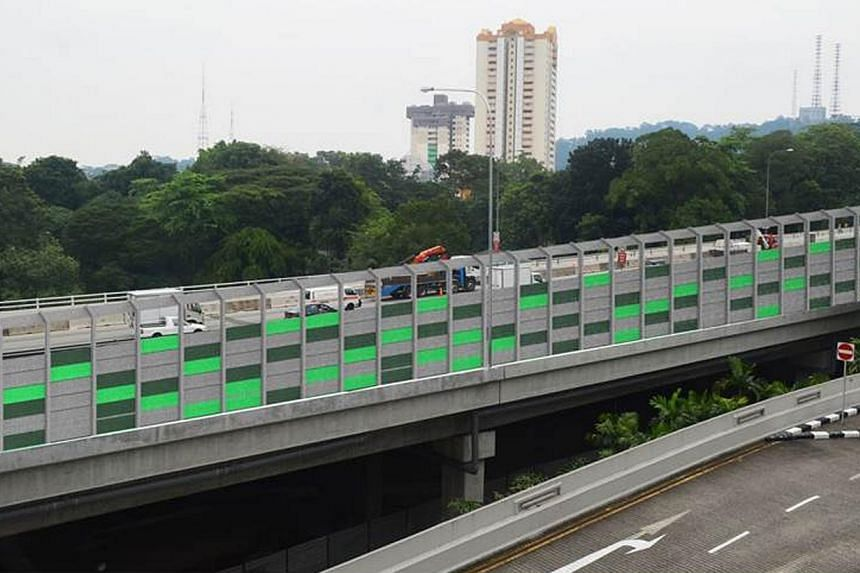 Artist impression: Noise barriers along Pan-Island Expressway's (PIE) Anak Bukit Flyover.-- PHOTO:LAND TRANSPORT AUTHORITY
