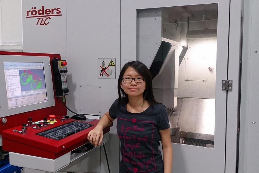 Ms Tham Shi Yi, 23, who studied precision engineering at Nanyang Polytechnic, admires the skill and innovation of German engineers. Mr Pang Shun Toll, 21, a Singapore Polytechnic graduate in aeronautical engineering, will alternate between three mont