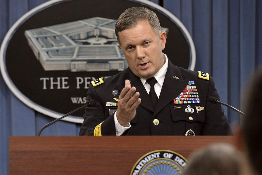 This US Department of Defense handout photo shows, Director of Operations J3, US Army Lt. Gen. William C. Mayville Jr. briefing the press at the Pentagon in Washington, DC. -- PHOTO: AFP