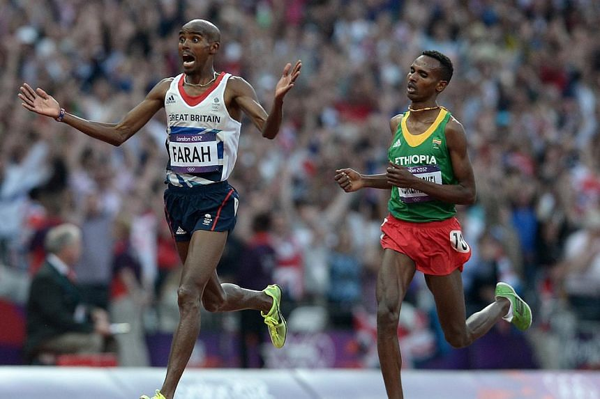 British runner Mo Farah is euphoric after winning the 5,000m from Ethiopia's Dejen Gebremeskel on August 11, 2012 to capture the gold medal at the London Olympic Games. He missed the recent Commonwealth Games in Glasgow aftercollapsing and kn