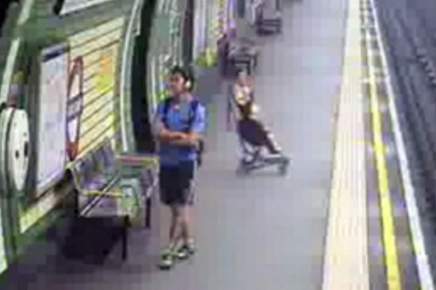 British police has released shocking footage of a pram rolling on to the London Underground train tracks with a child in it. -- SCREENGRAB: YOUTUBE