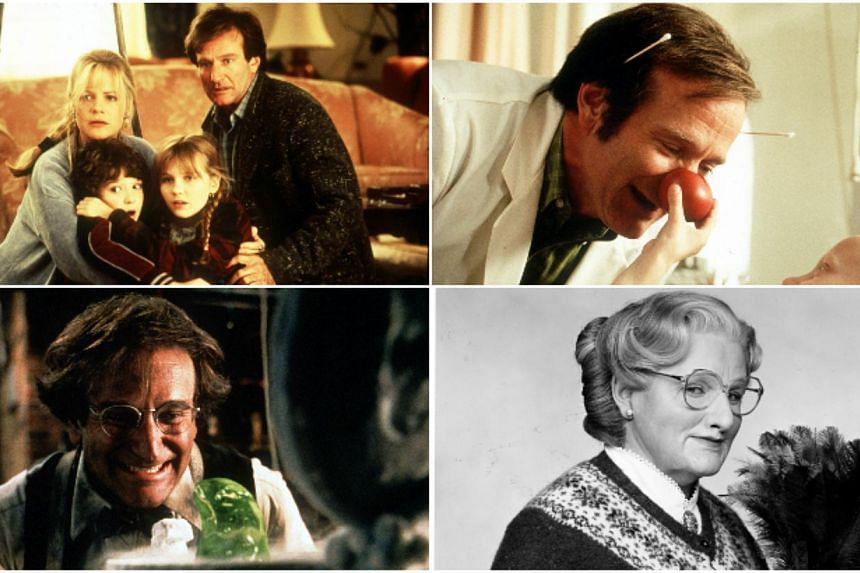 Actor-comedian Robin Williams was known for films like (clockwise from left) Jumanji, Patch Adams, Flubber and Mrs Doubtfire. -- PHOTO: ST FILE