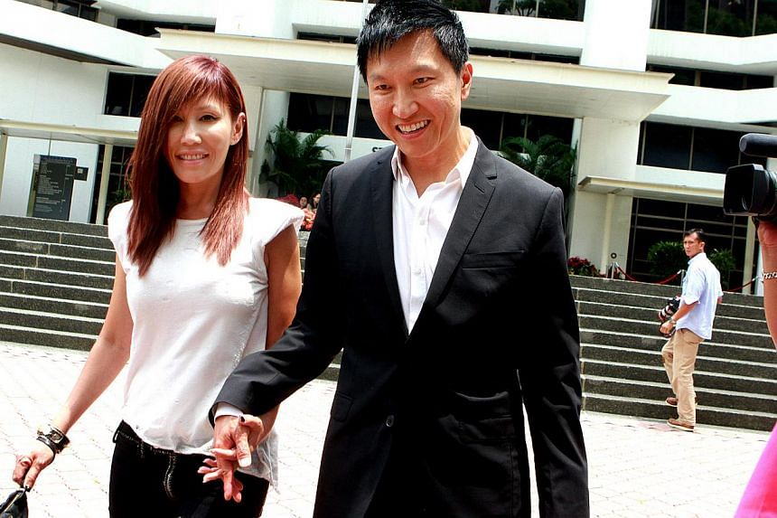 """City Harvest Church founder Kong Hee (right) and his pop singer-wife Sun Ho leaving the State Courts on April 8, 2014.City Harvest founder Kong Hee and his wife Ho Yeow Sun were both """"uncomfortable"""" with her English single China Wine, even thou"""