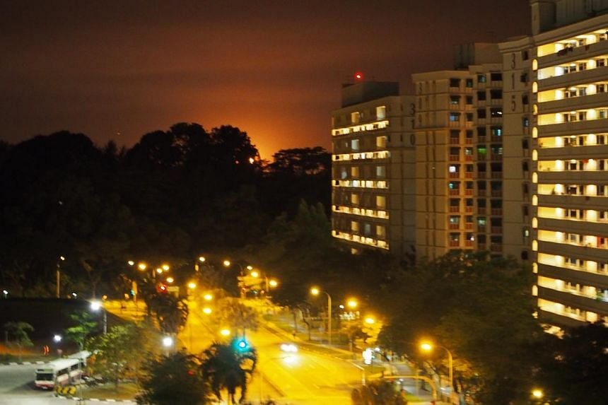 The red glow seen over the sky from Sembawang on Wednesday night.