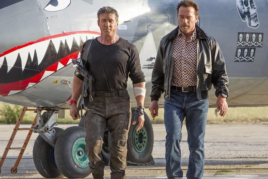 Sylvester Stallone (left) and Arnold Schwarzenegger (right) reprise their roles in The Expendables 3.