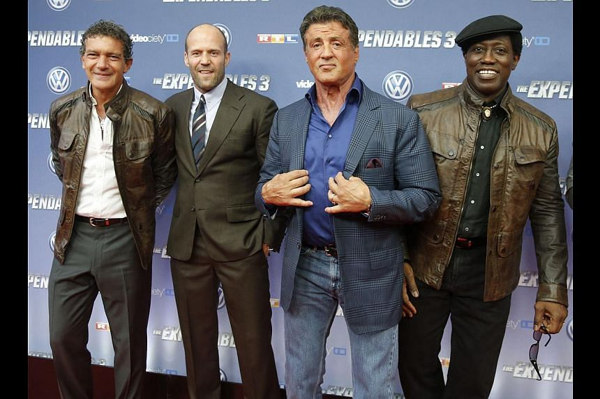 The third instalment of The Expendables stars (from right) Antonio Banderas, Jason Statham, Sylvester Stallone and Wesley Snipes.