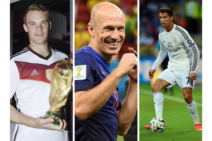 (From left) German World Cup-winning goalkeeper Manuel Neuer, Netherlands winger Arjen Robben and Real Madrid and Portugal star Cristiano Ronaldo are the three contenders to win UEFA's Best Player in Europe Award for 2013/14. -- PHOTOS: REUTERS/AFP