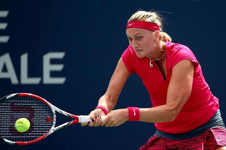 Petra Kvitova of the Czech Republic in action during the Rogers Cup in Montreal, Canada, on August 7, 2014. Wimbledon champion Kvitova was toppled in the WTA and ATP Mastersin Cincinnati on Wednesday by Ukrainian teenager Elena Svitolina 6-2, 7