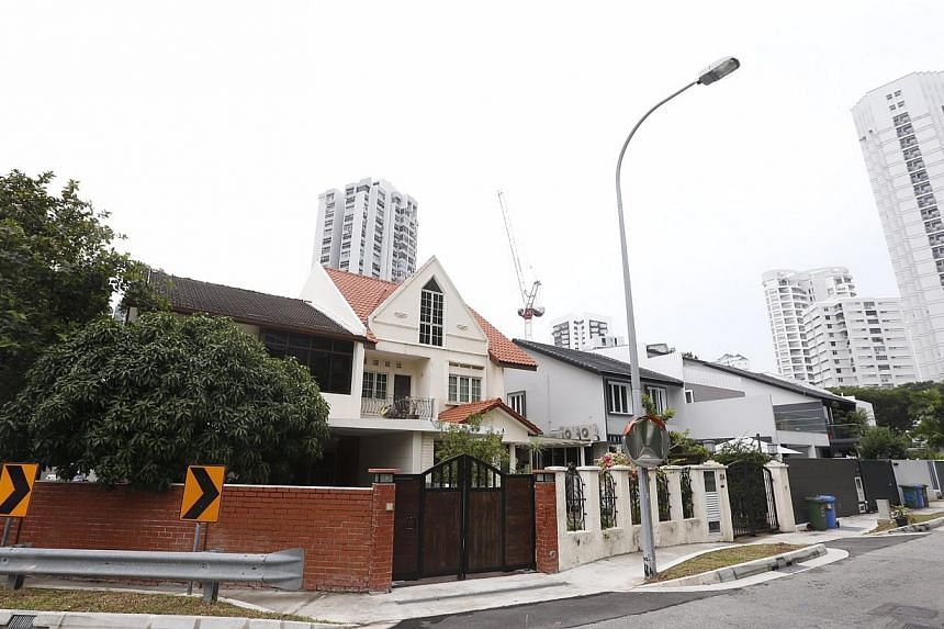 The cluster of six semi-detached houses along Amber Road that will make way for Amber Station as seenon Aug 15, 2014. -- ST PHOTO: KEVIN LIM