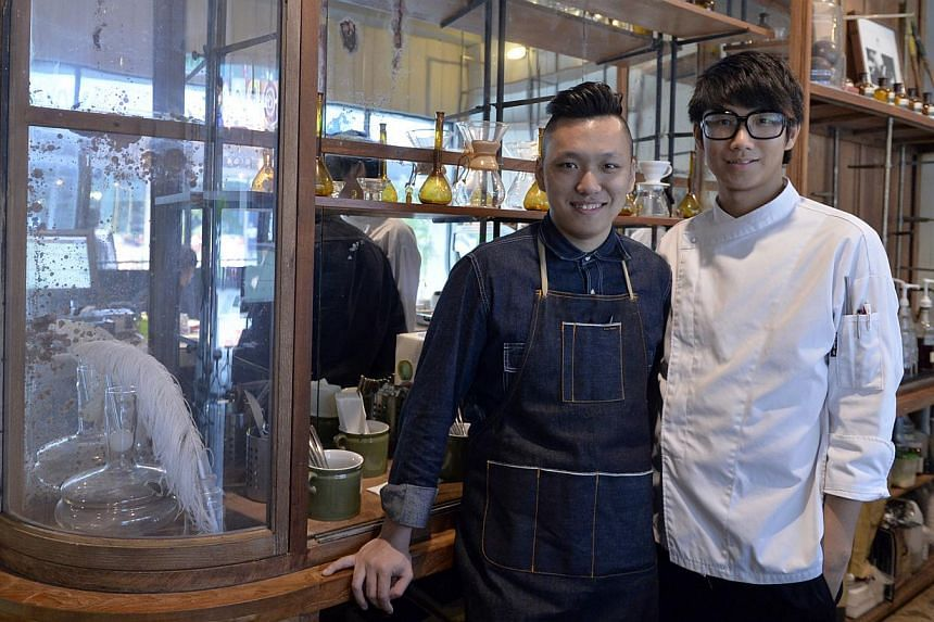 W Espresso co-founder Chye Yuan Feng (left) with chef Shawn Shum. -- ST PHOTO: DESMOND FOO