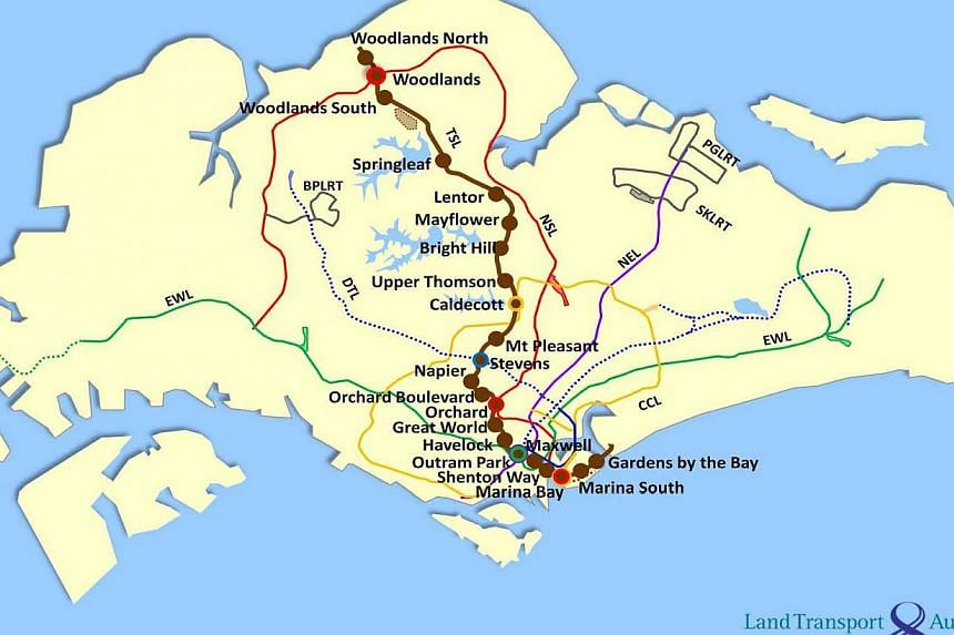 Rail alignment map of the Thomson stretch of the Thomson-East Coast Line. -- PHOTO: LTA