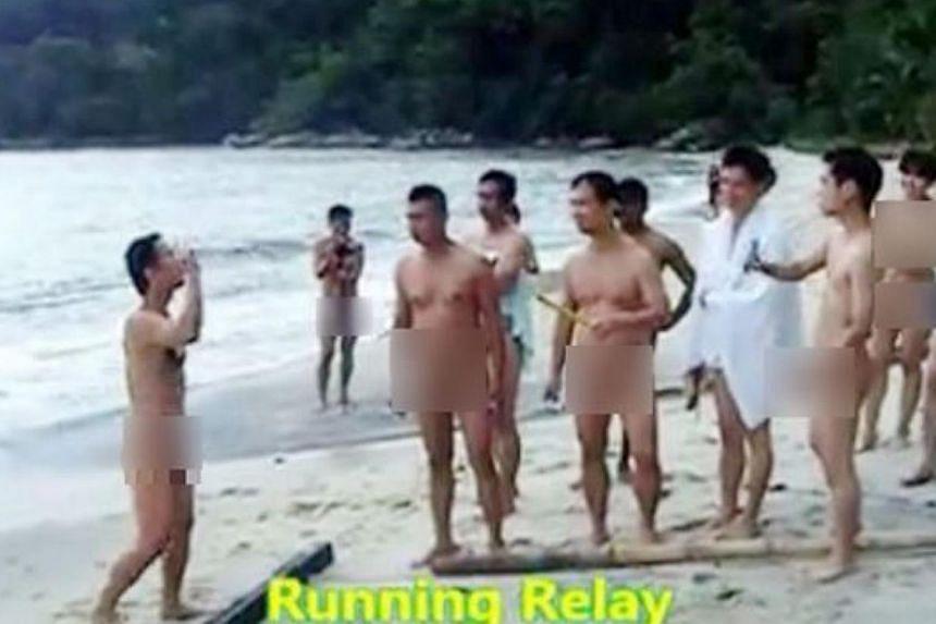The nudists participate in a relay race in this video screengrab. -- PHOTO: THE STAR/ASIA NEWS NETWORK