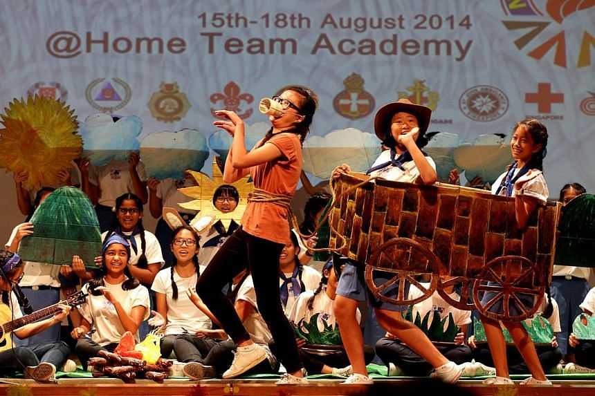 Singapore Girl Guides performing an item at the National Camp 2014. Mr Wong said the National Youth Internship Programme would start with a pilot intake of 60 members this year from uniformed groups.