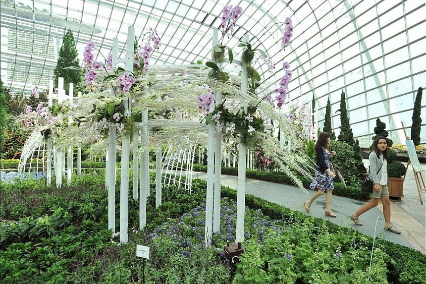 The tower is part of the Orchid Extravaganza, which is held in the Flower Dome at Gardens by the Bay. -- PHOTO: LIM YAOHUI FOR THE STRAITS TIMES