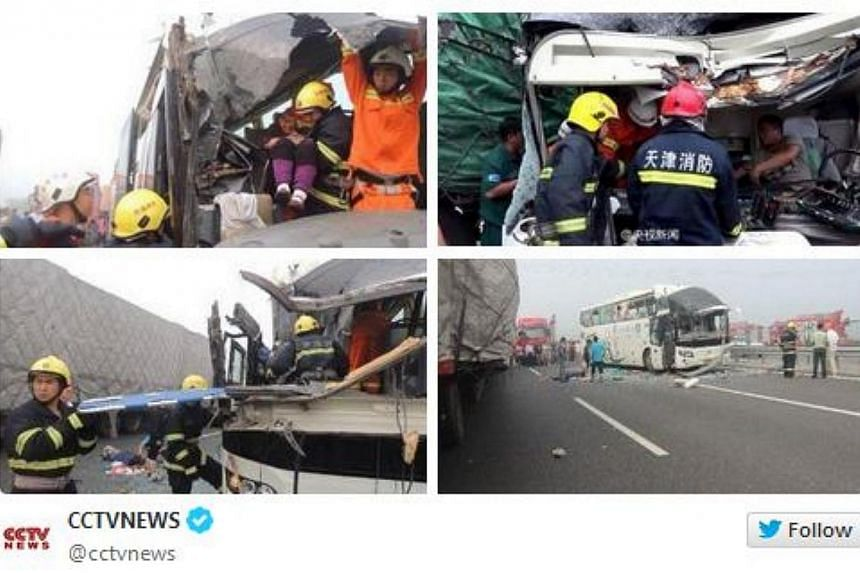 Heavy fog on Saturday morning resulted in a 60 vehicle pile-up on a highway near China's northern city of Tianjin, causing many to be trapped, reported state media China Central Television (CCTV). -- PHOTO: CCTV/TWITTER