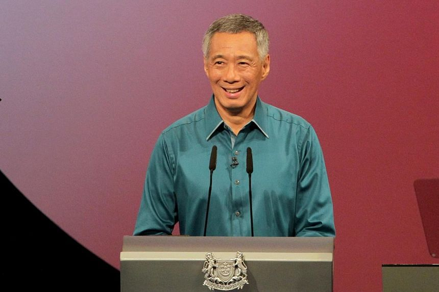 Prime Minister Lee Hsien Loong' at National Day Rally (NDR) in ITE College Central. -- ST PHOTO: NEO XIAO BIN