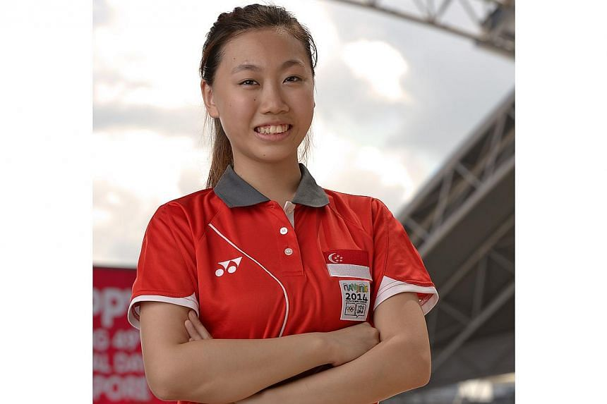Singapore's shooter Teh Xiu Yi finished seventh at the Youth Olympic Games women's 10m air pistol final on Sunday, Aug 17, 2014. -- ST PHOTO: DESMOND WEE
