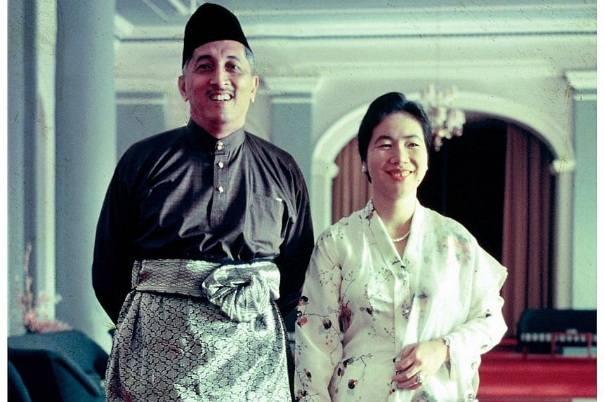 President Yusof Ishak with his wife Noor Aishah at the Istana in the early 1960s. -- PHOTO: NATIONAL ARCHIVES OF SINGAPORE