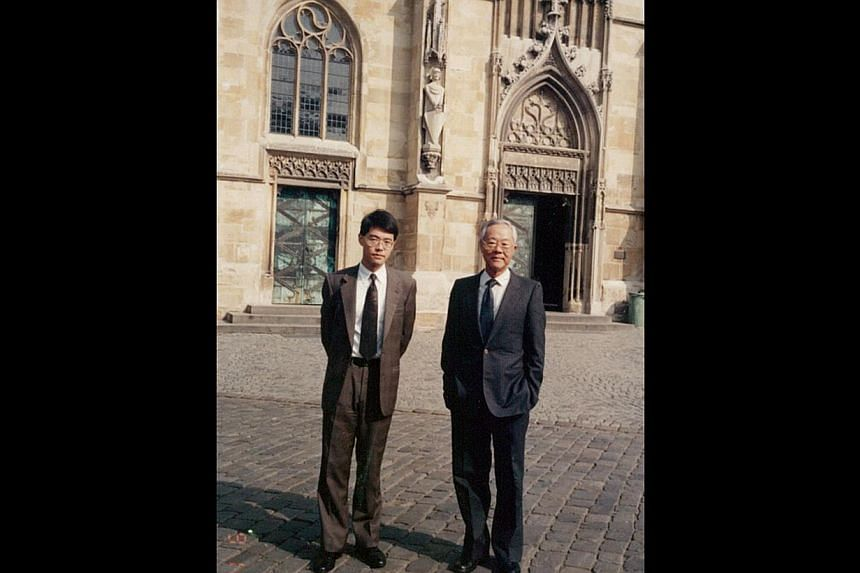 Mr Whang Shang Ying and his father Whang Tar Liang on a business trip to Germany in 1992. -- PHOTO: COURTESY OF WHANG SHANG YING
