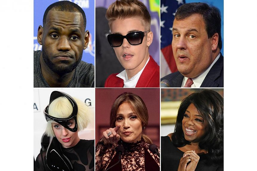 This combination of file images shows clockwise from upper right: NBA player Lebron James, Singer Justin Bieber, New Jersey Governor Chris Christie, media proprietor Oprah Winfrey, singer Jennifer Lopez and singer Lady Gaga. -- PHOTO: AFP