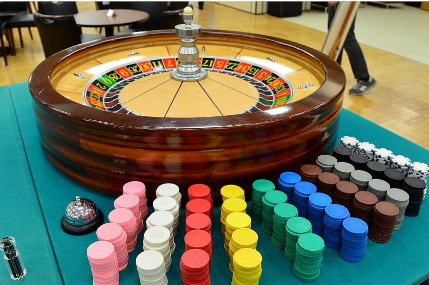 A roulette table being displayed at a Tokyo department store on Aug 20, 2014.Nearly 5 per cent of Japanese adults are addicted to gambling, a rate up to five times that of most other nations, according to a study. -- PHOTO: AFP