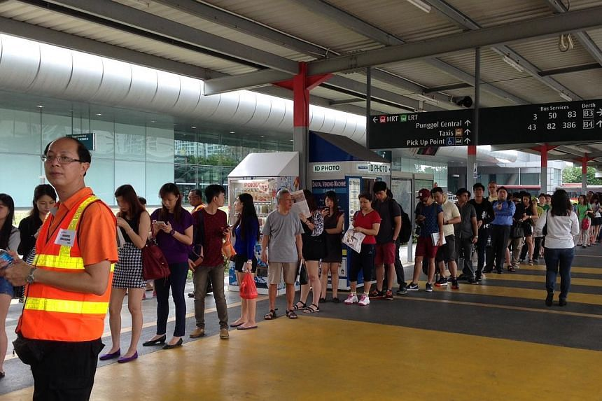 Train services have resumed on the North-East Line between Sengkang and Buangkok stations, but remain suspended between Sengkang and Punggol stations.-- ST PHOTO: JOYCE FANG