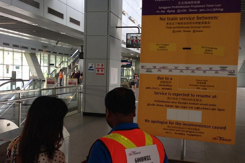 Train service between Punggol and Sengkang stations on the North-East Line was still suspended at about 2pm on Thursday but is expected to resume later in the afternoon. -- ST PHOTO: JOYCE FANG