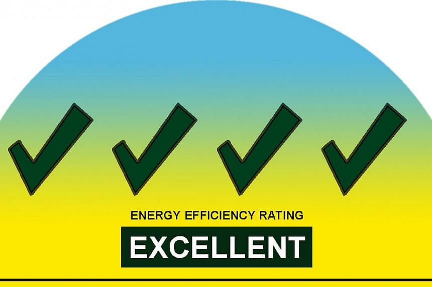 The current energy label from the National Environment Agency. Buying energy-efficient home appliances will become easier from September. -- PHOTO: NEA