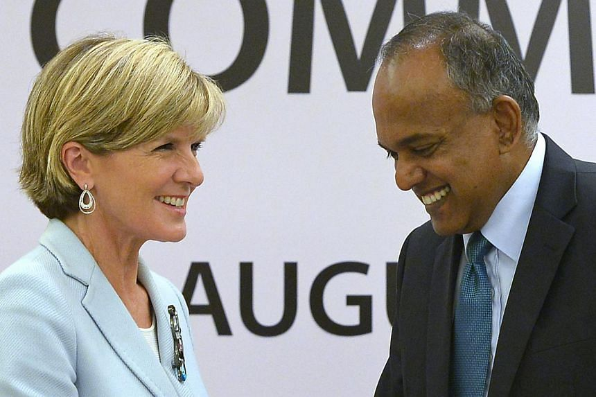 Australian Foreign Minister Julie Bishop and Foreign Minister K. Shanmugam at the Eighth Meeting of the Singapore-Australia Joint Ministerial Committee.