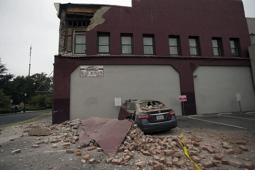 Damage to a downtown building is seen after an earthquake in Napa, California August 24, 2014. -- PHOTO: REUTERS
