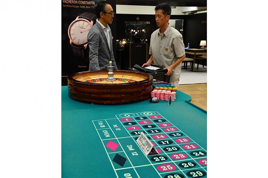 A roulette table being displayed at a Tokyo department store in August 2014. -- PHOTO: AFP