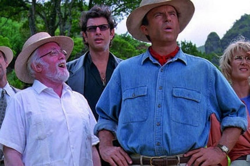 A scene from Jurassic Park, starring (second from left) Richard Attenborough, Jeff Goldblum, Sam Neill and Laura Dern. -- PHOTO: UNIVERSAL PICTURES